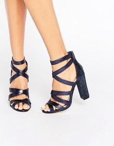 Сандалии на каблуке с ремешками Miss KG - Темно-синий