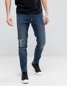 Рваные зауженные джинсы с заплатами и принтом в виде брызг краски Hoxton Denim - Синий
