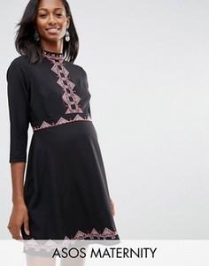 Короткое приталенное платье с вышивкой в стиле фолк ASOS Maternity - Черный