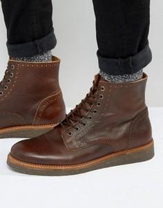 Коричневые кожаные ботинки броги на пробковой подошве ASOS - Рыжий