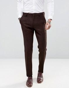 Коричневые твидовые брюки слим из 100% шерсти ASOS - Коричневый