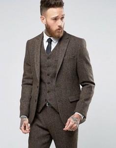 Коричневый пиджак узкого кроя из 100% шерстяного твида Харрис с узором в елочку ASOS - Коричневый