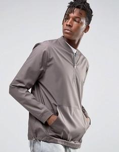 Тканый oversize-свитшот с молнией до середины груди и круглым вырезом ASOS - Серый