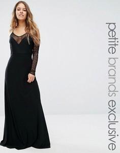 Платье макси с глубоким вырезом и открытыми плечами John Zack Petite - Черный