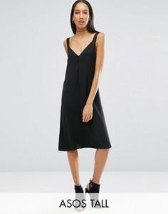 Атласное платье-комбинация с глубоким вырезом ASOS TALL - Черный