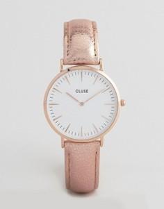 Часы с кожаным ремешком цвета металлик CLUSE La Boheme CL18030 - Золотой