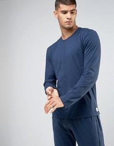 Хлопковый лонгслив для дома Calvin Klein One - Синий