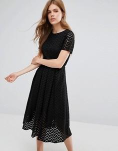 Платье миди с зигзагообразным узором YMC - Черный