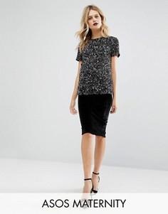 Бархатная юбка-карандаш для беременных ASOS Maternity - Черный