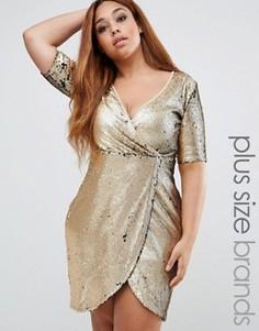 Платье размера плюс с запахом и пайетками Boohoo Plus - Золотой