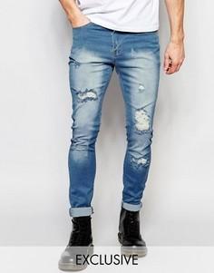 Светлые рваные джинсы скинни Liquor & Poker - Синий