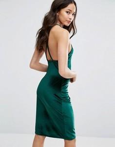 Бархатное платье миди с квадратным вырезом и перекрестной спинкой Club L - Зеленый