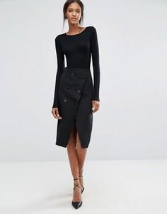Двубортная юбка с запахом из фактурной ткани Closet - Черный