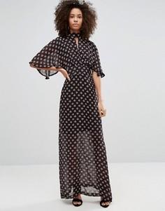 Платье макси с рукавами‑кимоно и цветочным принтом Liquorish - Черный