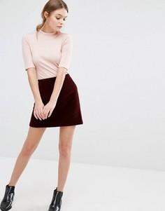 Бархатная стеганая юбка-трапеция мини New Look - Красный