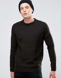 Джемпер в крупный рубчик с круглым вырезом D-Struct - Черный