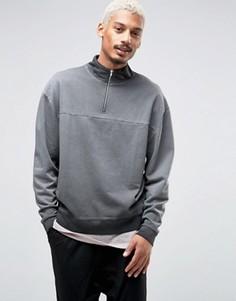 Oversize-свитшот с молнией ASOS - Серый