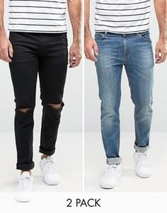 2 джинсов скинни (черные с рваными коленями/синие выбеленные) ASOS - СО СКИДКОЙ - Мульти