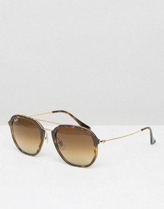 Солнцезащитные очки-авиаторы в черепаховой оправе Ray-Ban 0RB4273 - Коричневый