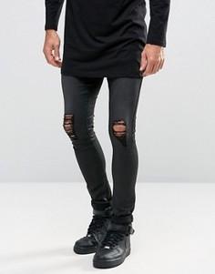 Супероблегающие рваные джинсы из искусственной кожи ASOS - Черный