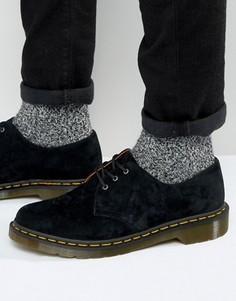 Замшевые туфли с 3 люверсами Dr Martens 1461 - Черный
