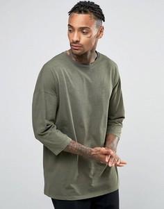 Длинная оversize-футболка цвета хаки с рукавами 3/4 ASOS - Зеленый