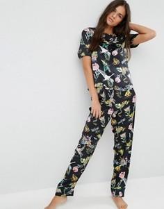 Пижамные брюки из атласа с принтом животных и цветов ASOS Wild Animal - Мульти