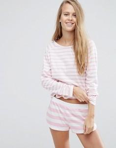 Хлопковый пижамный лонгслив и шорты в контрастную полоску ASOS - Мульти