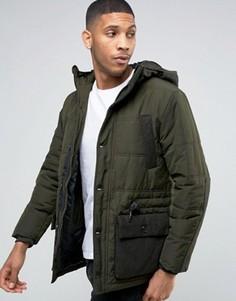 Дутая куртка с карманами в стиле милитари Esprit - Зеленый