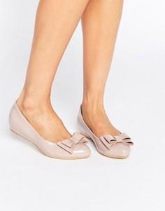 Светло-розовые балетки с бантом Glamorous - Розовый