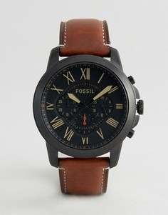 Часы с коричневым кожаным ремешком Fossil FS5241 Grant - Рыжий