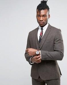 Узкий коричневый пиджак Rudie - Коричневый