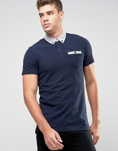 Темно-синяя футболка-поло с контрастным воротником Hilfiger Denim - Темно-синий