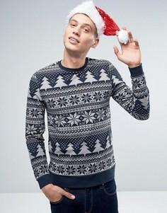 Рождественский свитшот с принтом ASOS - Темно-синий