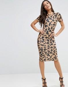 Фактурное облегающее платье-футболка миди с животным принтом ASOS - Мульти
