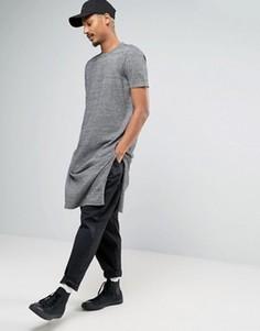 Длинная трикотажная футболка с разрезами по бокам ASOS - Серый