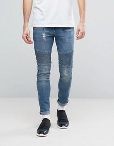 Супероблегающие джинсы с байкерской отделкой ASOS - Синий