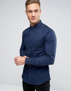 Оксфордская рубашка узкого кроя Burton Menswear - Темно-синий