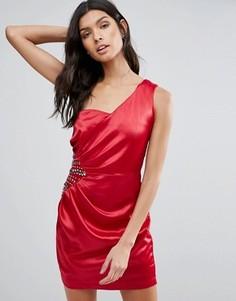 Платье на одно плечо с отделкой и драпировкой сбоку Pussycat London - Красный