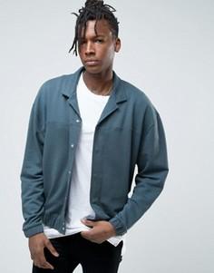 Синяя трикотажная oversize-куртка с воротником в виде лацканов ASOS - Серый