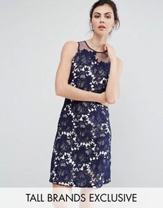 Кружевное цельнокройное платье с фактурной отделкой Little Mistress Tall - Темно-синий