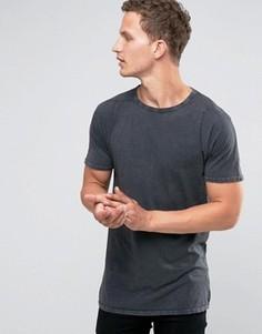 Удлиненная футболка с круглым вырезом Selected Homme - Серый