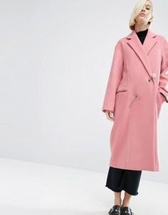 Пальто с добавлением шерсти с жемчужиной на застежке ASOS WHITE - Розовый