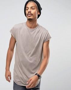 Длинная футболка из драпированной ткани с короткими рукавами ASOS - Коричневый