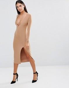 Облегающее платье с длинными рукавами, глубоким декольте и разрезом Rare - Бежевый