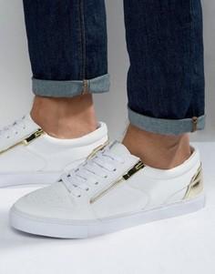 Белые кроссовки с золотистой молнией ASOS - Белый