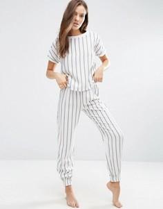 Тканый пижамный комплект в полоску с футболкой и штанами ASOS - Мульти