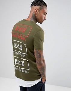 Супердлинная футболка с вышивкой и принтом ASOS - Зеленый
