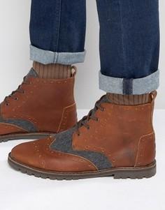 Кожаные ботинки-броги с шерстяной отделкой TOMS - Коричневый