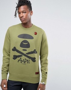 Свитшот с большим логотипом AAPE By A Bathing Ape - Зеленый